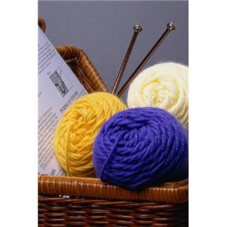 Yarn and knitting needles in basket