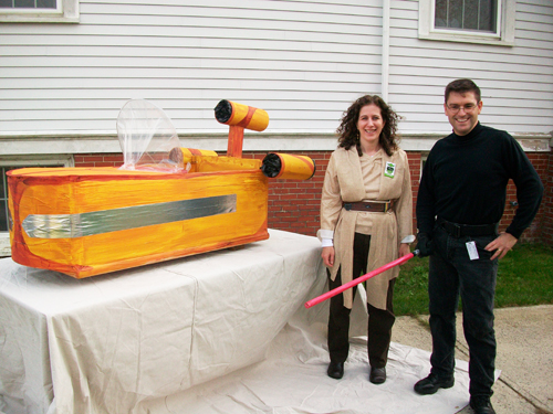 Rachel and Rick with the Land Speeder