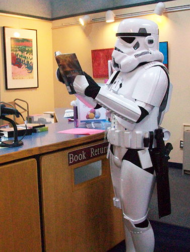 Stormtrooper with book