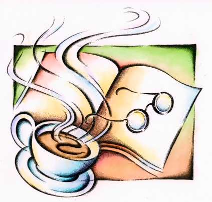 Open book and reading glasses with a cup of tea