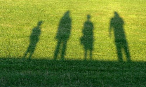 Shadows of family on grass