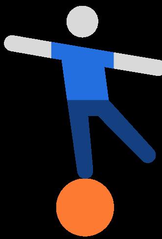 figure balancing on a ball
