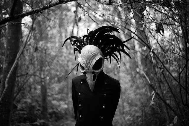 person in bird mask